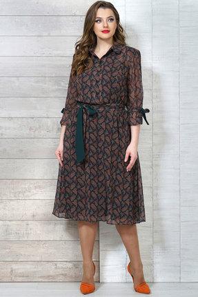 Фото 2 - Платье Белтрикотаж 4272 изумрудный с коричневым цвет изумрудный с коричневым