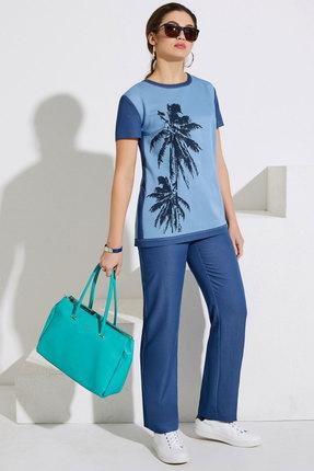 Комплект брючный Lissana 3999 голубой с джинсовым