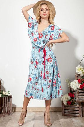 Платье DilanaVIP 1554 голубой с цветами