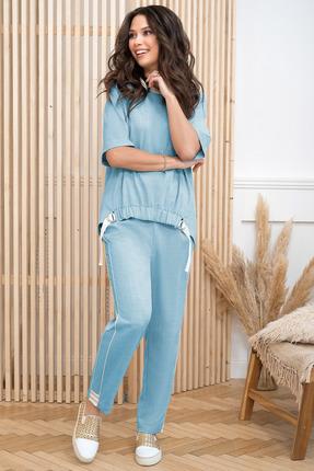 женский брючный костюм юрс, голубой