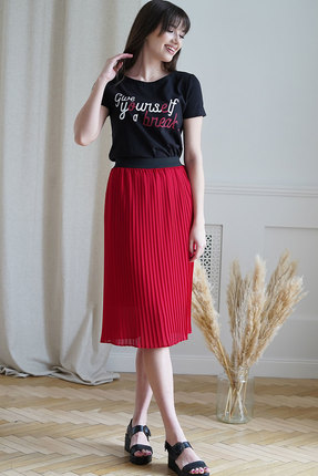Комплект юбочный Ришелье 790 чёрный+красный