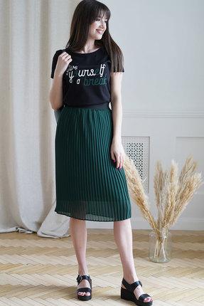 Комплект юбочный Ришелье 790 чёрный+зелёный