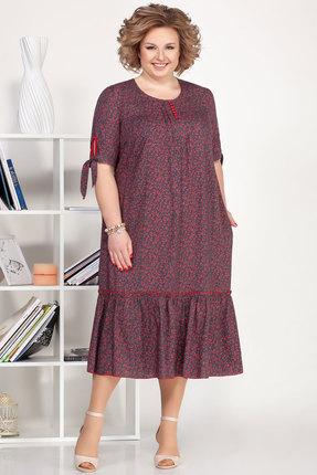 Платье Ivelta plus 1696 серый с красным