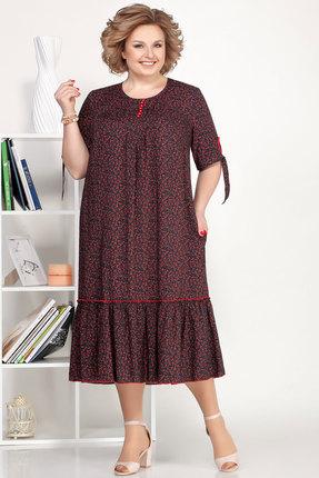 Платье Ivelta plus 1696 бордо с черным