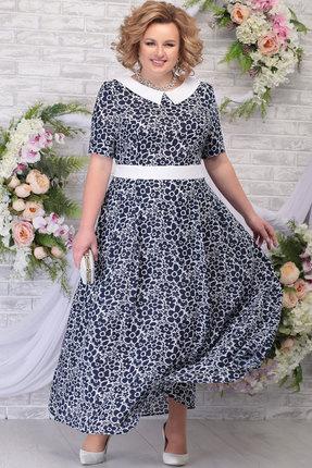 Платье Ninele 295 синий+ромашки