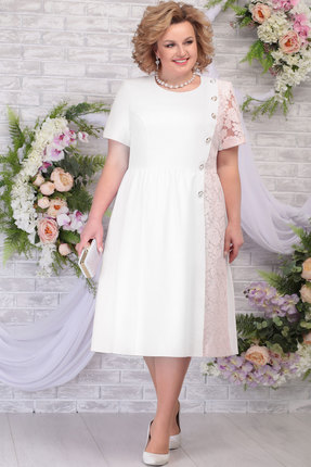 Платье Ninele 7285 молоко+пудра