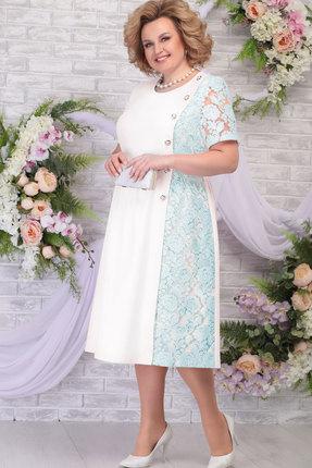 Платье Ninele 7285 молоко+светло-зелёный