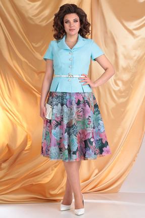 Комплект юбочный Мода-Юрс 2103 мята+цветы