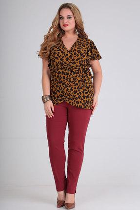 Комплект брючный Viola Style 20539 бордо с коричневым
