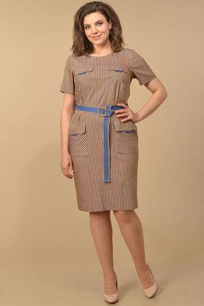 Платье Lady Style Classic 1970/2 горчичный с синим
