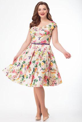 Платье Anelli 161 молочный с цветным