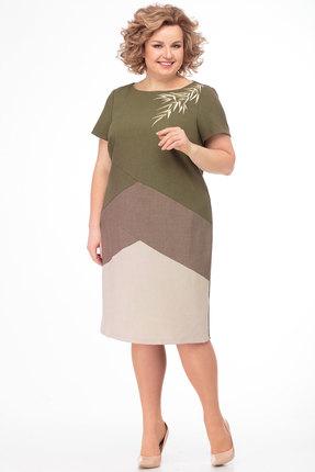 Платье Anelli 470 зеленые тона