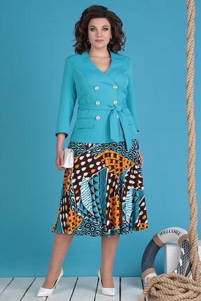 Комплект юбочный Мода-Юрс 2470-1 бирюза+коричневый