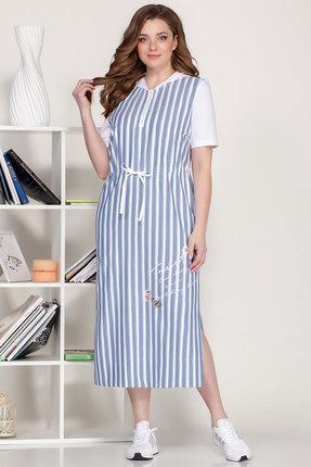 Платье Ivelta plus 1637 синий с молочным