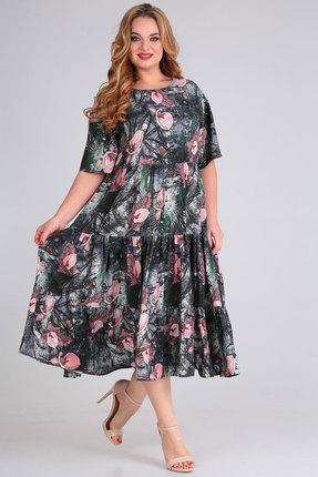 Платье Andrea Style 00271 серый с розовым