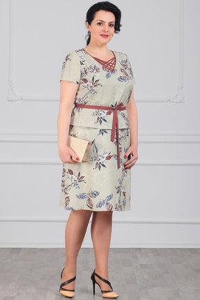 Комплект юбочный Мадам Рита 5095 светло-зеленый с цветами