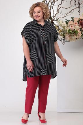 Комплект брючный Michel Chic 1167 черный с красным