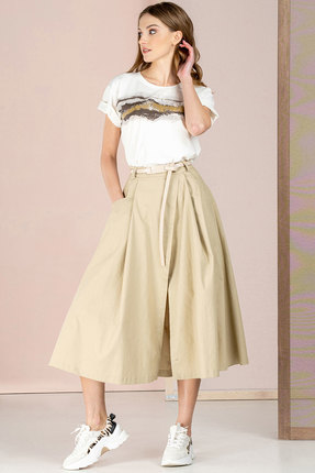 Комплект юбочный Deesses 2035 бежевый с белым
