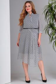 Платье SandyNa 13678 черно-белый