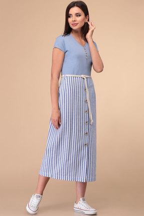 Платье Линия-Л Б-1813 голубой с белым