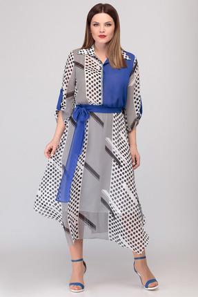Платье Denissa Fashion 1311 черно-белый с синим