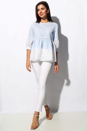 Комплект брючный Миа Мода 1159 молочно-белый с голубым