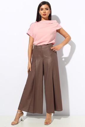 Комплект брючный Миа Мода 1149 розовый с коричневым