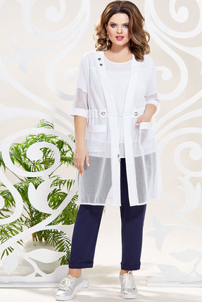 Комплект брючный Mira Fashion 4806 тёмно-синий+белый