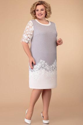 Платье Svetlana Style 1382 серый с белым