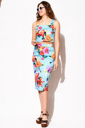 Комплект юбочный ЛЮШе 2351а бирюзовый с цветами ЛЮШЕ