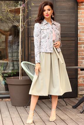 Комплект юбочный Мода-Юрс 2400 цветной+светло-зеленый