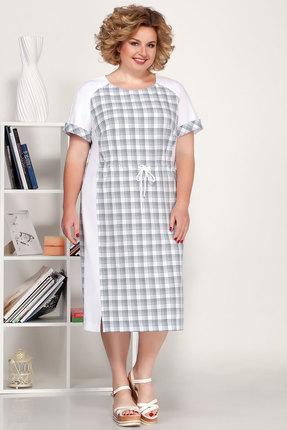 Платье Ivelta plus 1703 серый с молочным