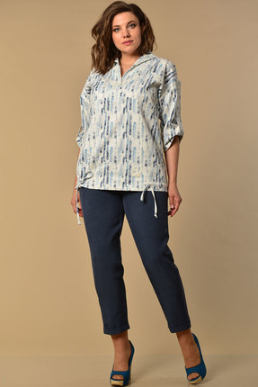 Комплект брючный Lady Style Classic 2058/2 синий с серым