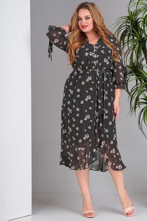 Платье SandyNa 13706 черный в цветы