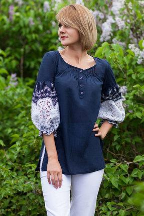 женская блузка euromoda, синяя