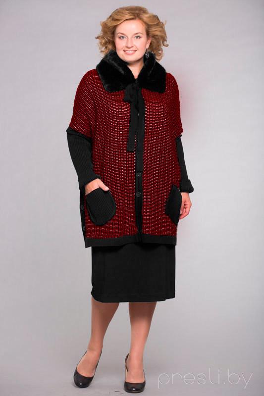 Кардиган Элма 538 черно-бордовый