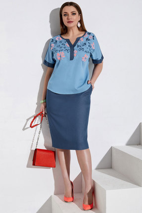 Комплект юбочный Lissana 3985 джинсовый с голубым