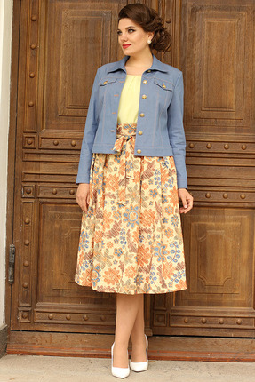 Комплект юбочный Мода-Юрс 2400 джинс+желтый