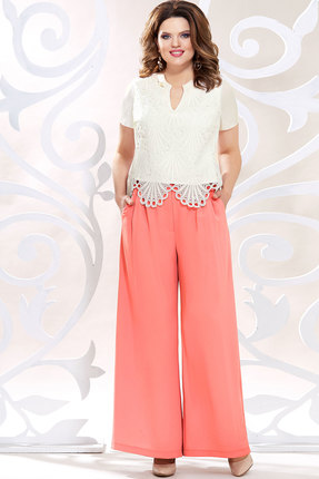 Комплект брючный Mira Fashion 4820 белый+коралл