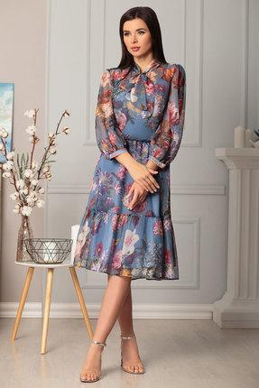 Платье Дали 4356 синий с розовым