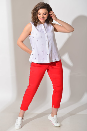 Комплект брючный Anna Majewska А024-Ф024 красный с белым