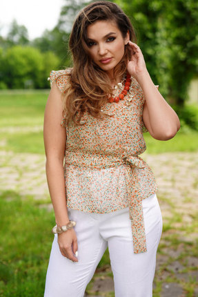 Блузка ЛЮШе 2403 бежевый с цветами