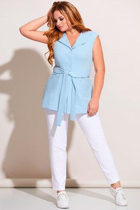 Комплект брючный Olga Style с671 голубой с молочным