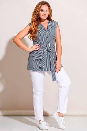 Комплект брючный Olga Style с671 синий с молочным