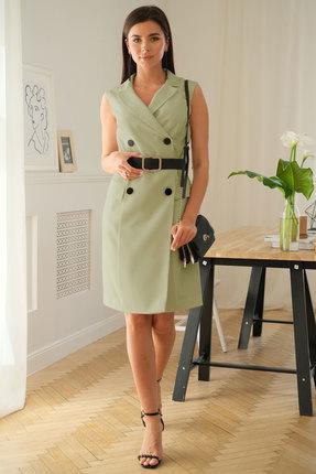 женское платье для офиса ladis line, оливковое