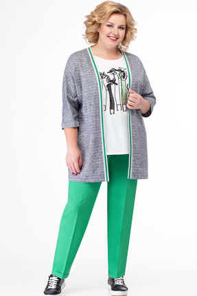 Комплект брючный Elady 3428б серый с зеленым