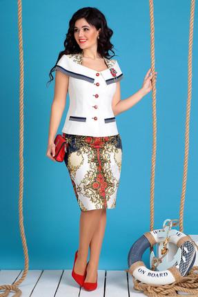 Комплект юбочный Мода-Юрс 2022 молочный с красным