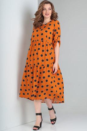 женское повседневные платье ришелье, оранжевое