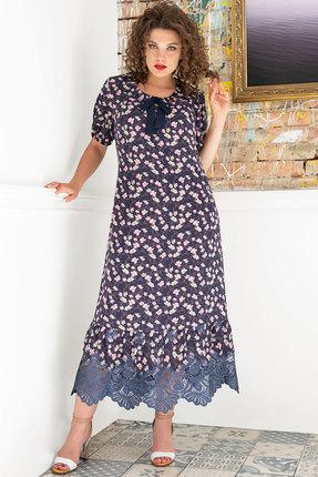 Платье Erika Style 1017-1 синие тона