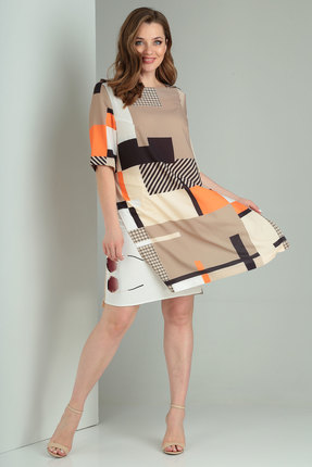 Комплект юбочный Viola Style 2598 беж с белым